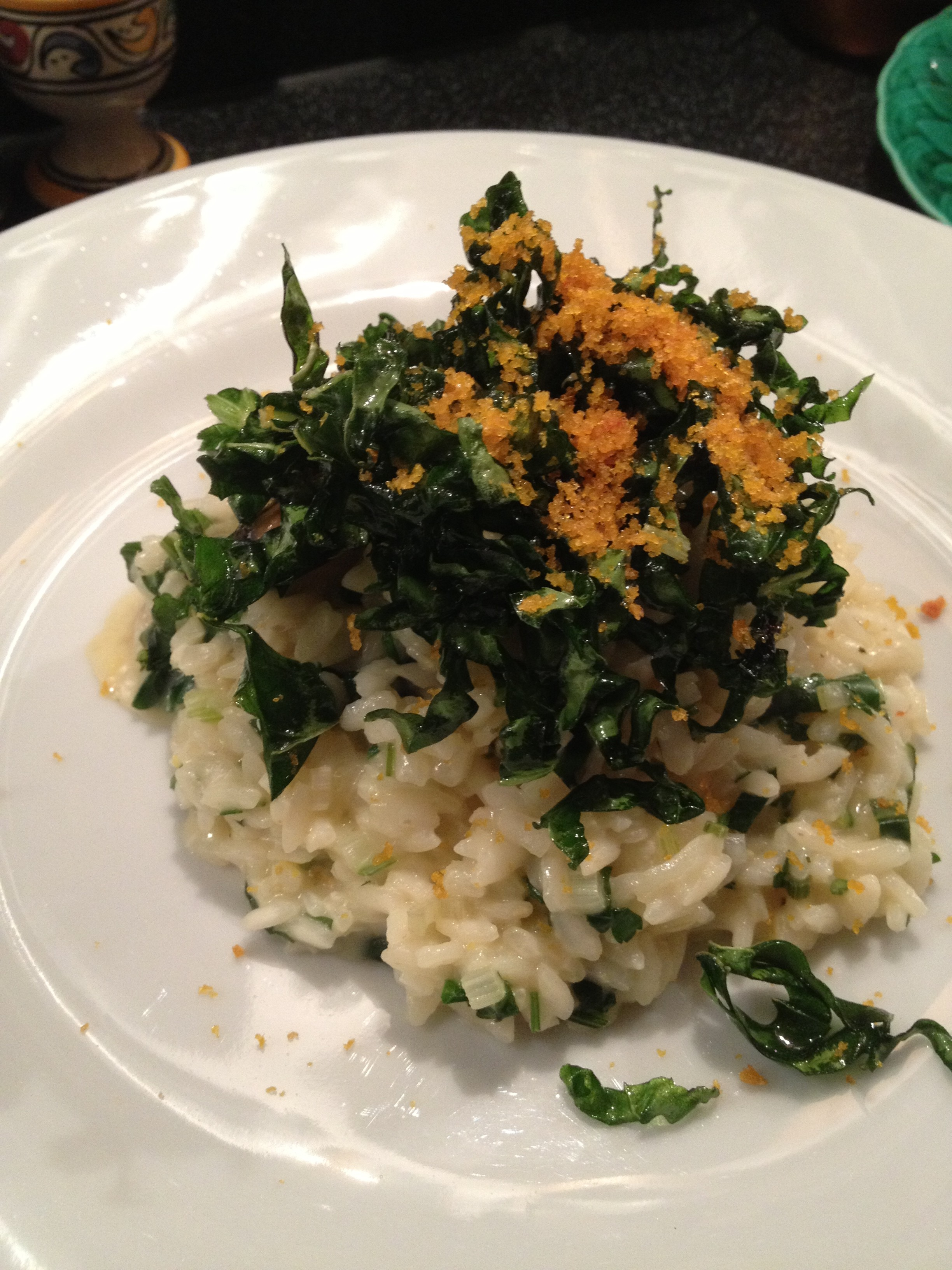 Risotto with bottarga, lemon, mussels and chard